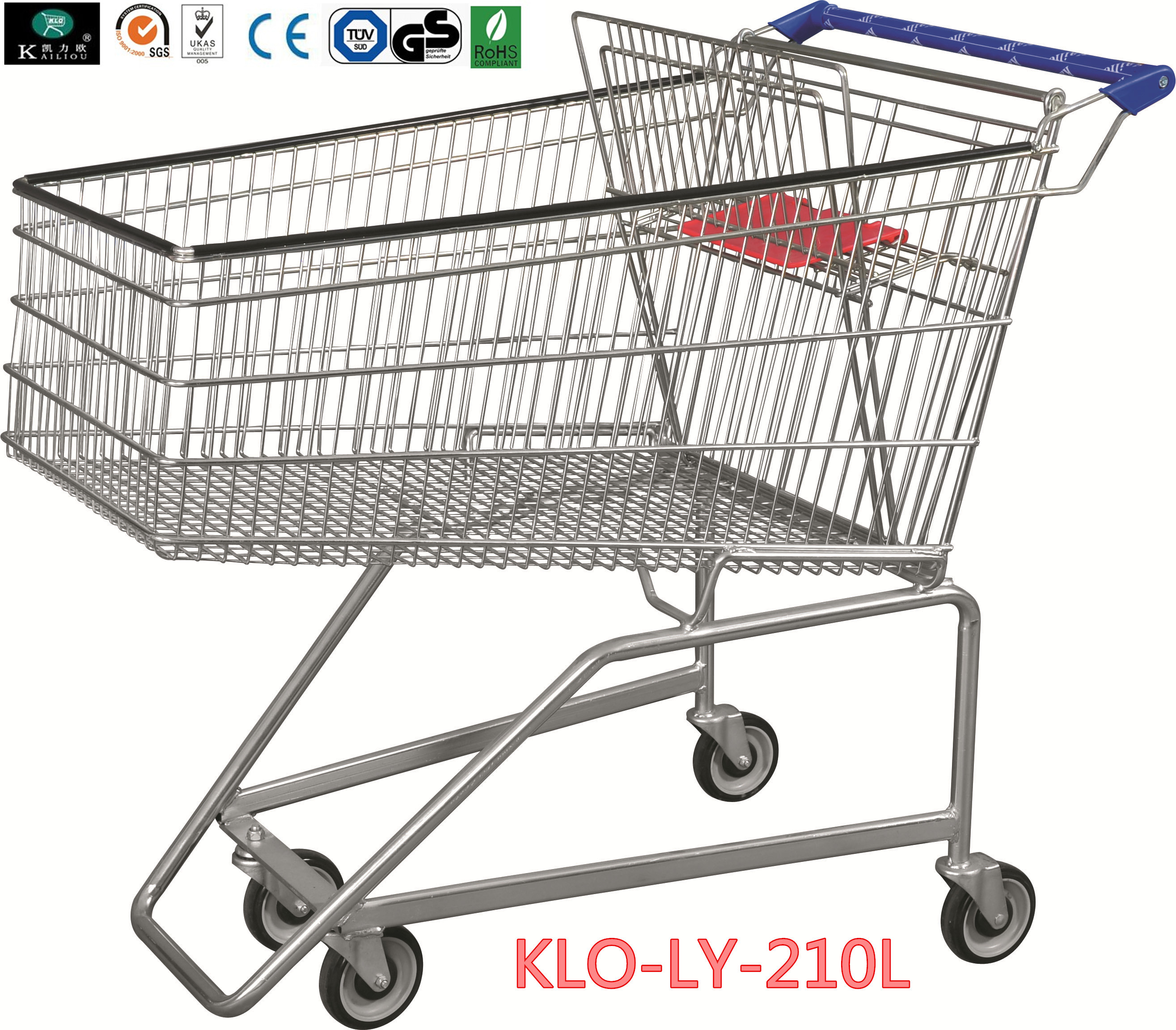 210L Grocery Disabled Shopping Trolley With Base Grid / 2 Years Warranty